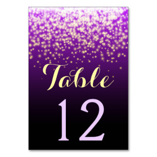 Sparkling lights in the sky wedding table number