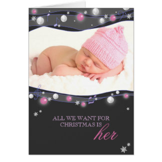 Sparkling Lights New Baby Girl Birth Announcements