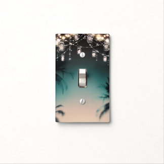 Sparkling Lights Palm Trees Elegant Beach Rustic Light Switch Cover