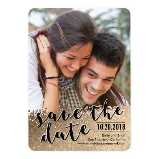 """Sparkling Love Photo Save The Date Card 5"""" X 7"""" Invitation Card"""