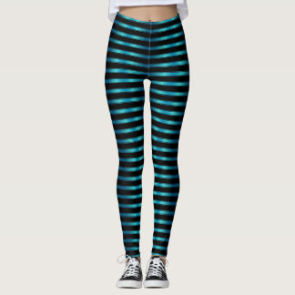 Sparkling Metallic Blue Horizontal Stripes Leggings
