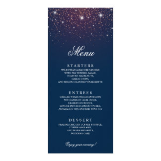 Sparkling Navy Blue Wedding Menu