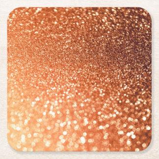 Sparkling Ombre Copper Shiny Trendy Glitter Square Paper Coaster