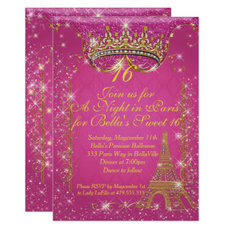 Sparkling Paris Party Invitations