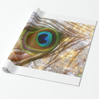 Sparkling Peacock Feather Wrapping Paper