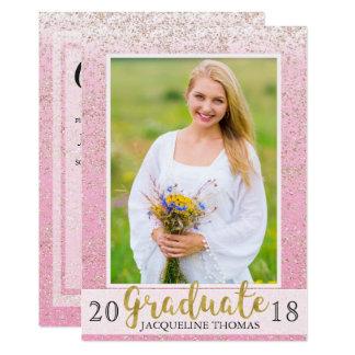 Sparkling Pink Glitter Photo Graduation Invitation