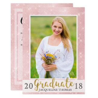 Sparkling Pink Photo Graduation Invitation