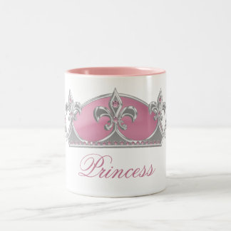Sparkling Pink Princess Faux Crown with Diamonds Coffee Mug