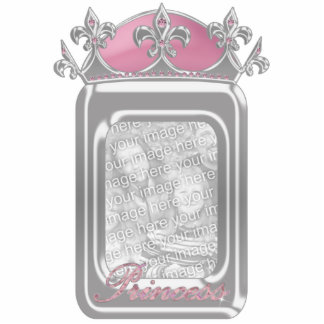Sparkling Pink Princess Faux Crown with Diamonds Photo Cutout