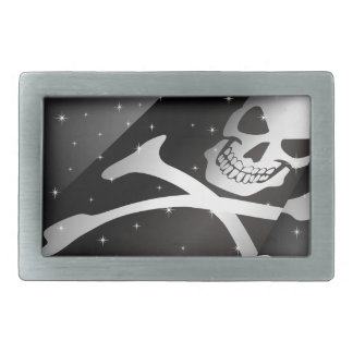 Sparkling Pirate Flag Rect Belt Buckle