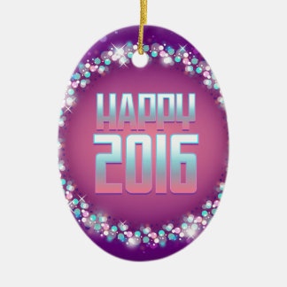 Sparkling Purple Happy New Year 2016 Ceramic Oval Ornament