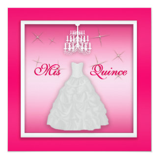 Sparkling Quinceanera Invite Hot Pink White