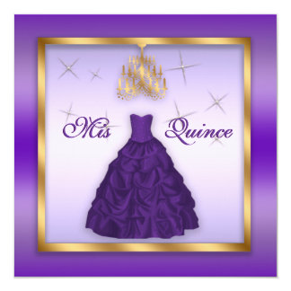 Sparkling Quinceanera Invite Purple Lavender Gold