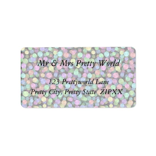Sparkling Rainbow Polka Dots Label