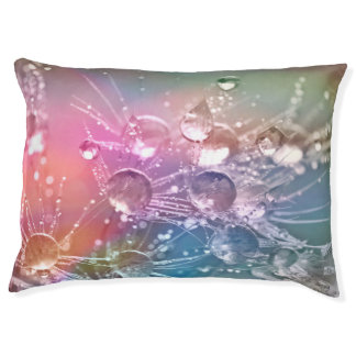 Sparkling Rainbow Water Drops Large Dog Bed