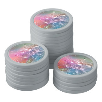 Sparkling Rainbow Water Drops Poker Chips Set