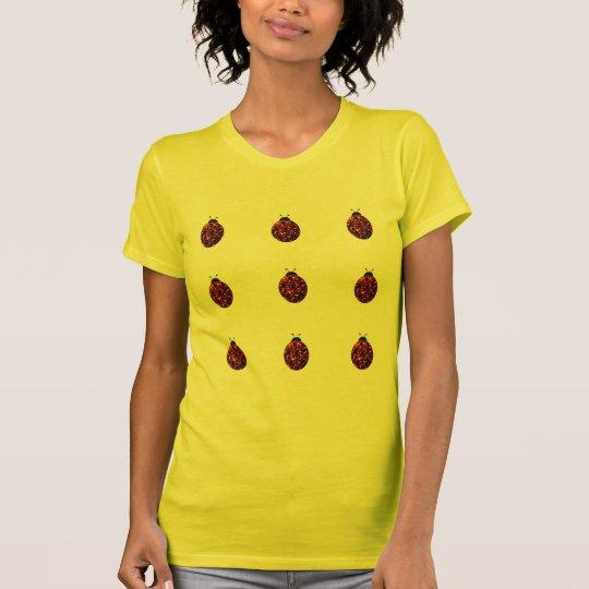 Sparkling red sparkles Ladybird Ladybug pattern T-Shirt