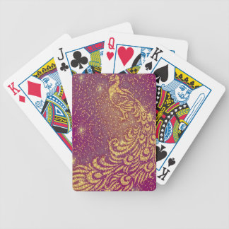 Sparkling Red & Yellow Peacock Bicycle Playing Cards