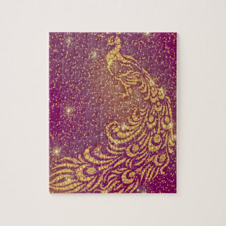 Sparkling Red & Yellow Peacock Jigsaw Puzzle