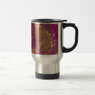 Sparkling Red & Yellow Peacock Travel Mug