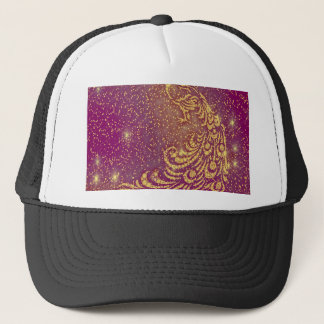 Sparkling Red & Yellow Peacock Trucker Hat