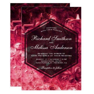 Sparkling Ruby Red Gemstone Wedding Invitation