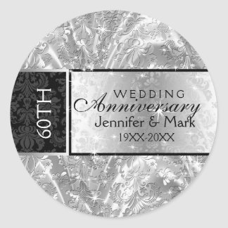 Sparkling Silver 60th Wedding Anniversary Round Sticker