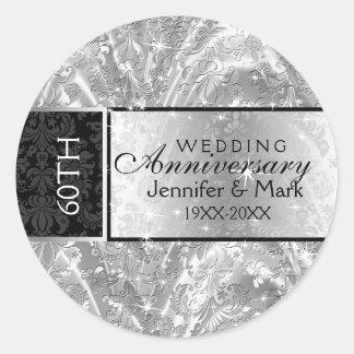 Sparkling Silver 60th Wedding Anniversary Round Sticker