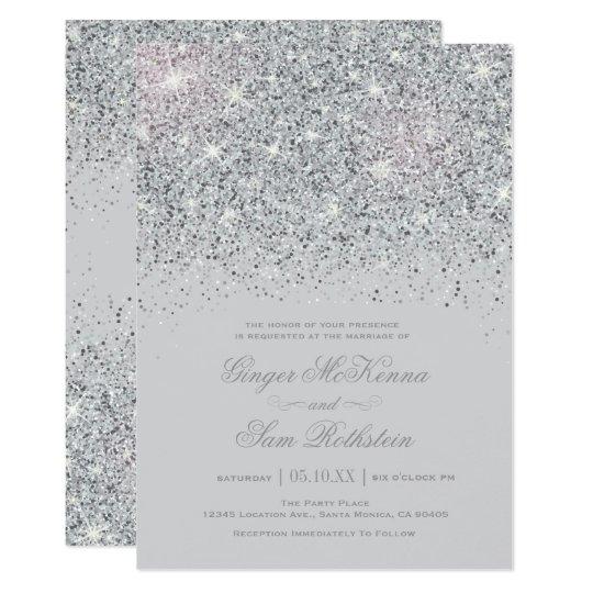 Sparkling Silver Glitter Wedding Invitations  6d0e7e5ae421
