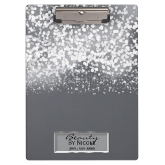 Sparkling Silver Lights Chic Glam Personalized Clipboard