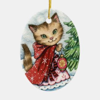 Sparkling Snow - Cute Christmas Cat Ornament
