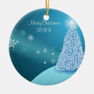 Sparkling snow landscape ceramic ornament