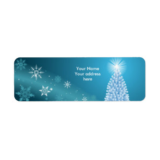 Sparkling snow landscape label personalize return address label