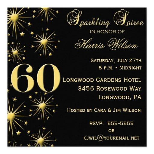 Sparkling Soiree 60th Birthday Invitations at Zazzle.ca