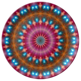 Sparkling soul music (red-orange-turquoise) porcelain plate