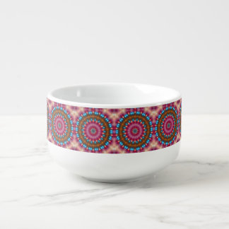 Sparkling soul music (red-orange-turquoise) soup bowl with handle