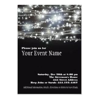 "Sparkling Stars Black and White Party Invitation 5"" X 7"" Invitation Card"