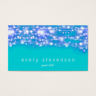 Sparkling Stars Blue and Turquoise Festive Business Card