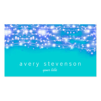 Sparkling Stars Blue and Turquoise Festive Pack Of Standard Business Cards