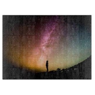 Sparkling Stars Rainbow Galaxy Cutting Board