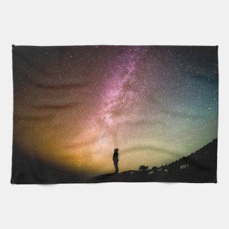 Sparkling Stars Rainbow Galaxy Kitchen Towel