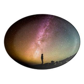 Sparkling Stars Rainbow Galaxy Porcelain Serving Platter