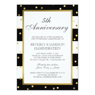 Sparkling Stripes | 5th Wedding Anniversary Party Card