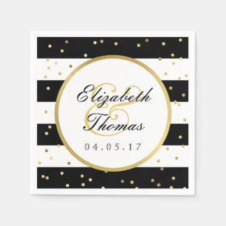 Sparkling Stripes | Elegant Wedding Napkin Paper Napkins