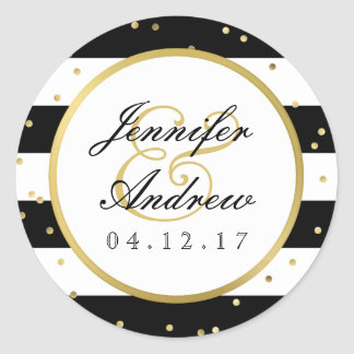 Sparkling Stripes | Elegant Wedding Sticker