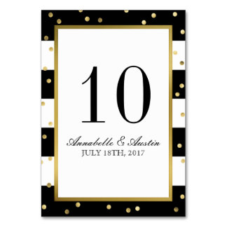 Sparkling Stripes | Elegant Wedding Table Card