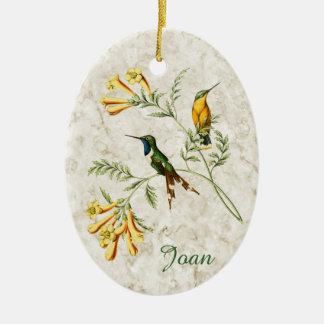 Sparkling Tailed Hummingbird Ceramic Ornament