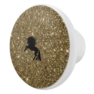 sparkling unicorn golden ceramic knob