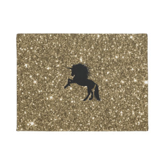 sparkling unicorn golden doormat