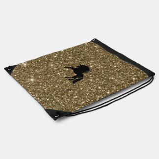 sparkling unicorn golden drawstring bag